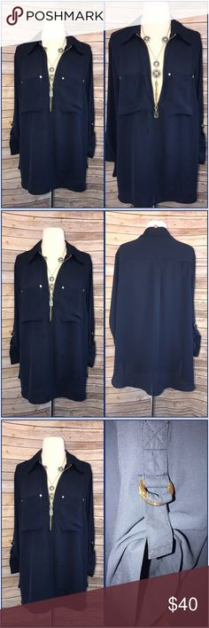 Micheal Kors As always divine chic MK blouse, light cool stylish and summer perfect!. It's navy blue with gold zipper. Kors! Kors! Kors! Michael Kors Tops Blouses