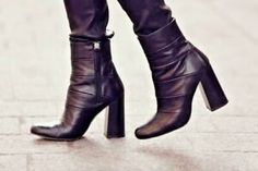 e1190447b43 Details about ZARA HIGH HEEL COMBINED LEATHER ANKLE BOOTS 38 Black Block Heel  Booties Trend
