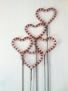 wired beaded hearts