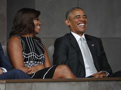 Earlier there were no tears to be found as Obama and Michelle shared a sweet laugh togethe...