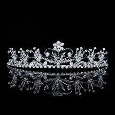 Bridal Flower Swirl Rhinestone Crystal Prom Wedding Crown Tiara 9546 - BUY NOW ONLY 17.99