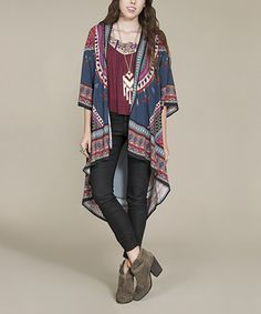 This Navy & Red Tribal Hi-Low Cardigan is perfect! #zulilyfinds