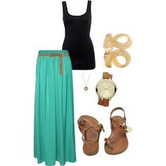maxi skirt & tank put a jean jacket with it when it's breezy in the restaurant or outside created by kmangan on Polyvore