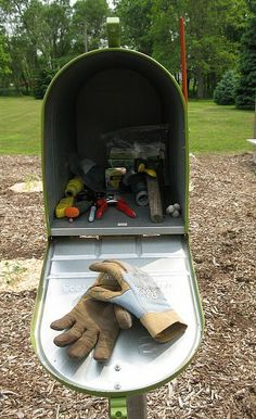 Garden mailbox tool shed  Paint vegtables or flowers on it