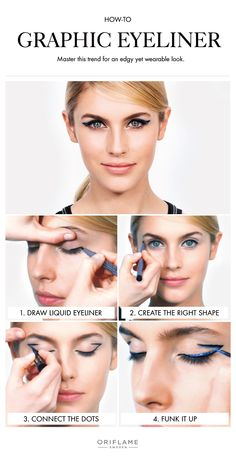 Master the graphic eyeliner trend in an edgy – yet wearable way! Makeup Trends, Makeup Tips, Eye Makeup, Makeup Tutorials, Oriflame Beauty Products, Oriflame Cosmetics, Makeup For Beginners, Beginner Makeup, Graphic Eyeliner