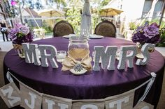 Mr. and Mrs. table decor at the wedding reception