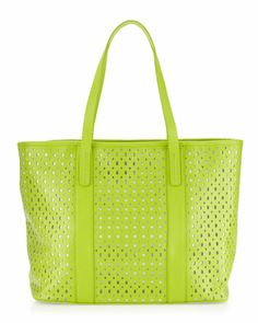 Perforated Tote Bag, Lime by Neiman Marcus at Last Call by Neiman Marcus.