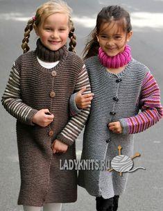Вязаное спицами простое пальто для девочки от 2 до 10 лет