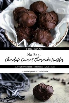 No-Bake Cheesecake Truffles - These mouth watering sugar-free cheesecake truffles are low carb, keto, and gluten free. Satisfy your sweet tooth with these easy-to-make chocolate covered truffles! #cheesecaketruffles #truffles #fatbomb #keto #lowcarb #creamcheese #lilyschocolate #cleaneating #darkchocolate | buttertogetherkitchen.com