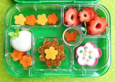 Lunch: cheese and carrot flowers, strawberry flowers, hard boiled egg, flower sandwich (swap strawberry for red apple or watermelon)
