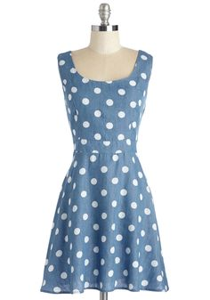 Call the Dots Dress. Start the day on a decisively delightful note by sporting this chambray frock. #blue #modcloth