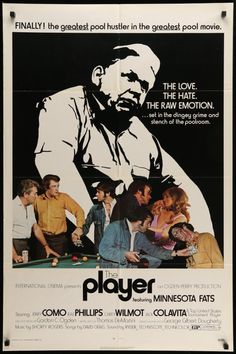 The Player (1971)  A vintage, folded, one sheet movie poster for the 1971 pool shark film The Player starring Jerry Como, Raw Phillips, and Rudolf Wanderone Jr.