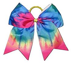 """New """"TIE-DYE RAINBOW"""" Cheer Bow Pony Tail 3″ Ribbon Girls Hair Bows Cheerleading Practice… Review"""