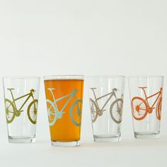 High desert - 4 mountain bike pint glasses, 4 colors... Chris would love these.