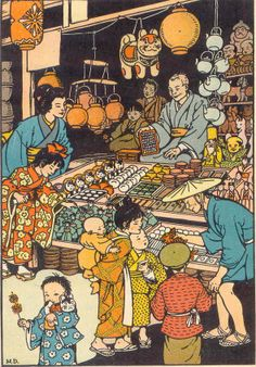 gold country girls: Vintage Illustrations Of Japan by Marguerite Davis