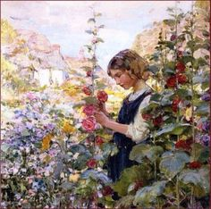 Girl Among the Hollyhocks, aka Young Girl in a Cottage Garden (detail), by Alfred John Billinghurst (British, 1880–1963). Oil on canvas. Depicts Ida from Little Ida's Flowers by Hans Christian Andersen