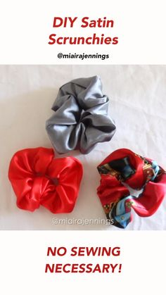 DIY Satin Scrunchies (NO SEWING!) Here's how to easily make your own satin scrunchies in just a few minutes with no sewing! Sewing Hacks, Sewing Diy, Sewing Projects, Sewing Crafts, Diy Projects, Diy Crafts Hacks, Diy Crafts For Gifts, Crafts For Teens, Diy Hair Scrunchies