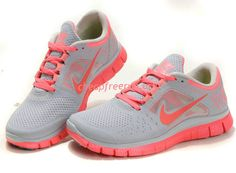 hot sale online 436a8 d2f90 Hot Punch Nike Free Run 3 Wolf Grey Bright Crimson 510643 061