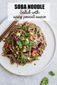 This cold soba noodle salad with spicy peanut sauce is a healthy vegan recipe that is easy to make! You'll love this delicious soba noodle bowl! #vegan #glutenfree #sobanoodles #buckwheatnoodles #veganrecipes