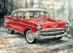 1957 Chevrolet Bel Air Sport Coupe Wood Print by Joey Agbayani All wood prints are professionally printed packaged and shipped within 3 - 4 business days and delivered ready-to-hang on your wall Choose from multiple sizes and mounting options Chevrolet Bel Air, Chevrolet Trucks, Chevrolet Impala, Matte Painting, Car Painting, Chevy, Vw Vintage, Truck Art, Car Drawings