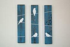 Décor rustique de mur - oiseaux sur un fil de 3 pces, petit format