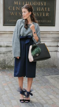 In autumn and winter it's all about those big knit jumpers. Pair a grey knit with culottes for the entwined trend.
