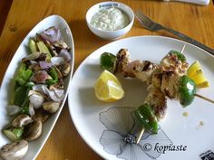 These Chicken Souvlakia are so tender and juicy due to the marinade which features the fresh-tasting combination of Greek ingredients. Chicken Salad, Grilled Chicken, Pasta Salad, Greek Yoghurt, Greek Salad, Garlic Sauce, Tzatziki, The Fresh, Street Food