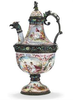 A Viennese Silver & Enamel 'Jeweled' Teapot, 1890.