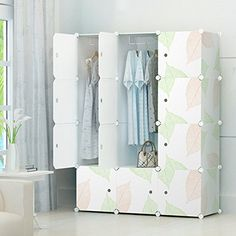 Portable Clothes Closet Wardrobe by Cosyhome-Freestanding Storage Organizer with doors , large space and sturdy construction. White-12 cube -- Learn more by visiting the image link.
