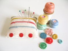 Hettie, hand crochet pincushion, cream with 1940s retro inspired stripes & ruby red buttons - Ready To Ship, by Emma Lamb via Etsy