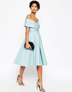 ASOS Premium Scuba Off The Shoulder Midi Dress