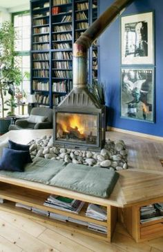 Cool middle-of-the-room fireplace