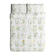 STRANDKRYPA Duvet cover and pillowcase(s), floral patterned, white floral patterned/white Full/Queen (Double/Queen)