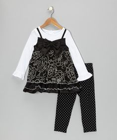 Take a look at this White & Black Bow Layered Dress & Leggings - Toddler on zulily today!