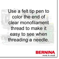 Have you ever tried to thread a needle with invisible thread? This tip is a lifesaver! #SewingTip #BERNINAtip