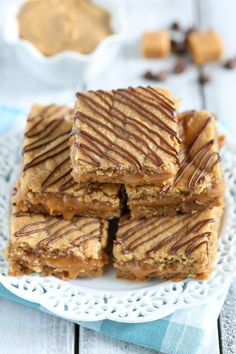 Caramel Stuffed Peanut Butter Blondies