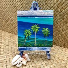 """Huahine Blues"" Mini Print on Stand Flotsam And Jetsam, Mission Beach, Mini Paintings, Tropical Paradise, Tahiti, Fairy Tales, Blues, Hand Painted, Colours"
