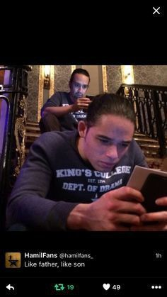 Anthony Ramos and Lin-Manuel Miranda ( person in front(Anthony) plays Phillip Hamilton and is back guys( Lin-Manuel) dad in the show Hamilton Musical, Hamilton Soundtrack, Hamilton Broadway, Fandoms, Hamilton Lin Manuel Miranda, Anthony Ramos Hamilton, Phillip Hamilton, Comedia Musical, Overwatch