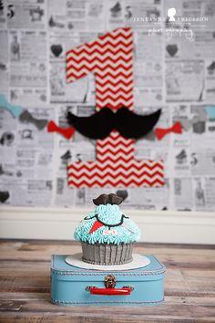 mr. l is one! northern california cake smash photographerEDIT  little man mustache cakesmash giant cupcake