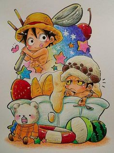 Law & Luffy & Bepo #Chibi #OnePiece