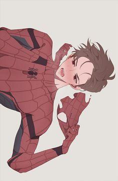 Who loves Spidey ? Deadpool X Spiderman, Spiderman Kunst, Parker Spiderman, Spiderman Anime, Deadpool Fan Art, Memes Marvel, Marvel Funny, Marvel Dc Comics, Spideypool