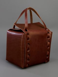 Brown real leather raw edge box bag with woven handles by Works Unlimited