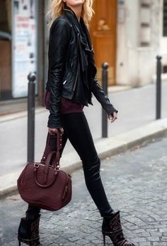 Elegant black leather and burgundy outfit