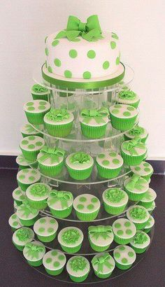 Green and white cake/ cupcakes