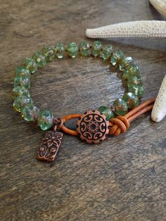 Knotted Leather Wrap Bracelet, Boho Chic, Spring Flowers
