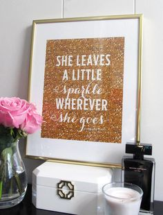 she leaves a little sparkle wherever she goes - gold glitter wall art for a girl's room