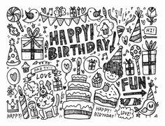 Galerie de coloriages gratuits coloriage-doodle-joyeux-anniversaire-par-notkoo2008. Doodle à colorier 'Joyeux Anniversaire', par Notkoo2008 (Source : 123rf.com)