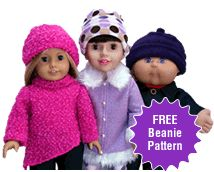 Free Doll Clothes Beanie Pattern for 18 Inch and American Girl Dolls.  Comes with PDF pattern pieces and instructions and 30 days access to online step by step video tutorials on how to make this wonderful pattern.