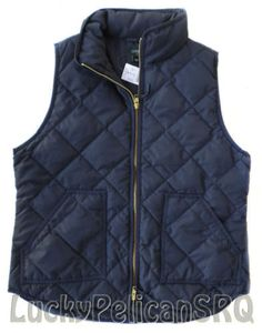 J.CREW Navy Excursion Vest Quilted Down Puffer L Large NWT