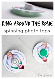 Ring Around the Rosie Spinning Photo CD Tops on Lalymom.com - fun nursery rhyme activity idea for kids!
